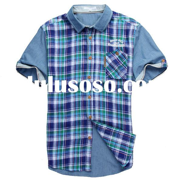 2014 new style combed cotton latest custom half sleeve formal shirts for men