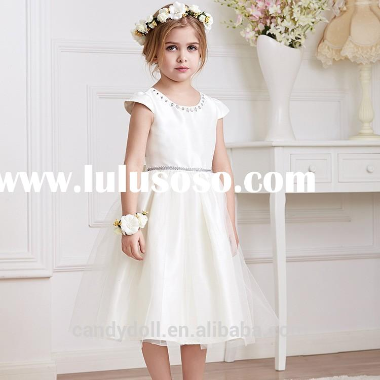 Beautiful white short sleeve tulle factory direct dress cute flower girl dress fro new frock design