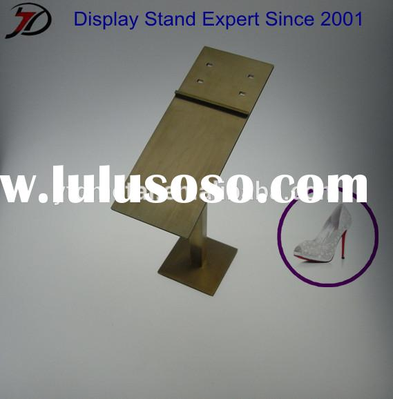 Brush finish stainless steel modern shoe store display stand fixture