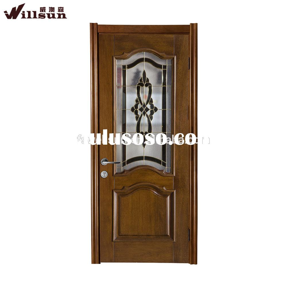 Used tempered decorated glass doors interior solid core wooden doors