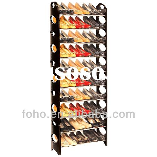 10 layer black metal shoe rack with steel pipe(FH-SR00610)