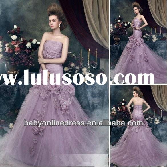 2013 New Style Brilliant Mermaid Strapless Chapel Train Flowers Angerika's Color Purple Wedd