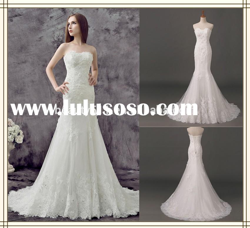 2015 New Style Appliqued Strapless Lace-up Back Floor-length Mermaid lace wedding dresses AS471