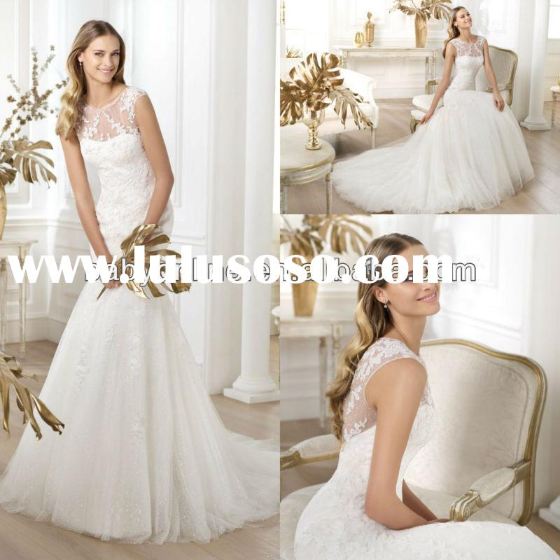 BO2044 New Style Mermaid Lace Applique Bridal Dress Wedding Dress Patterns