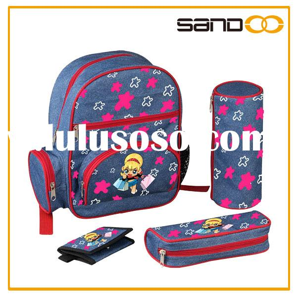 Backpack sale fashion kids jeans school bags for girls, 4pcs school backpack set