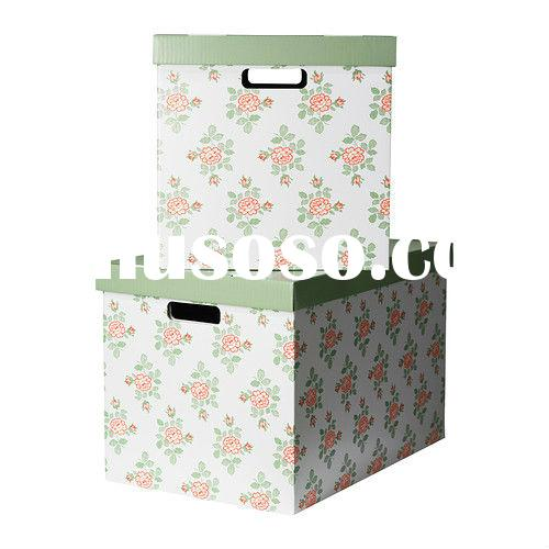 Custom Printed Decorative White Cardboard Shoe Storage Boxes with Lid