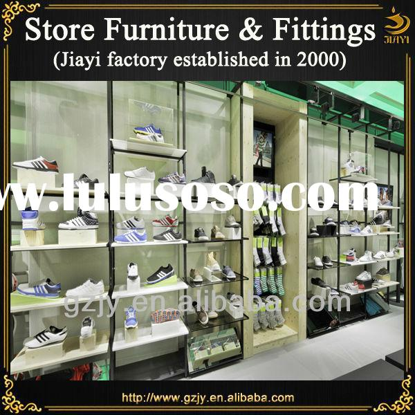 Fashion black metal shoe rack and shoes display stands for shoe store interior furniture