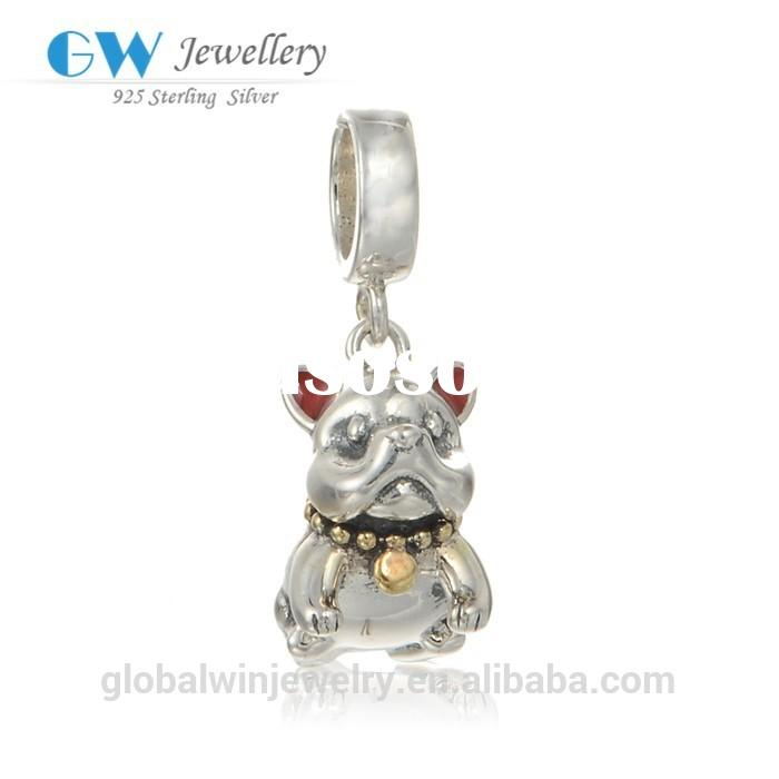 New Enamel Dog Charms With Gold Bell 925 Sterling Silver Bracelet Diy Dog Pendants For Jewelry Makin