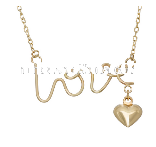 New Fashion Beautiful 14k Yellow Gold 'Love' and Puffed Heart Charm Necklace for Wom