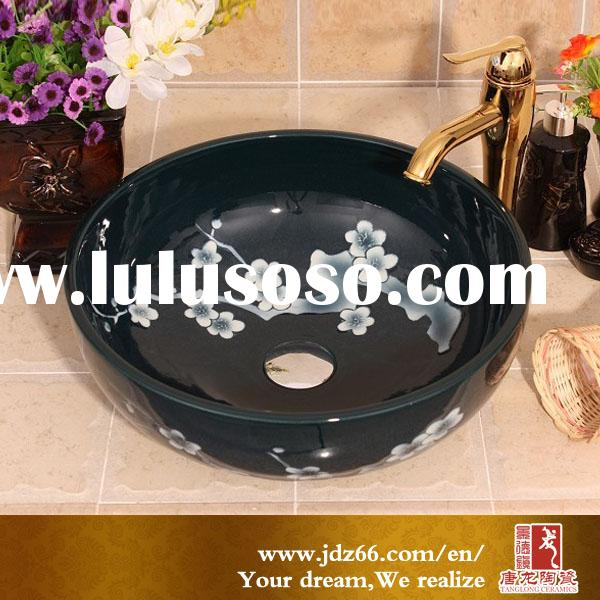 Nice quality ceramic basin with plum blossom for small dog washing