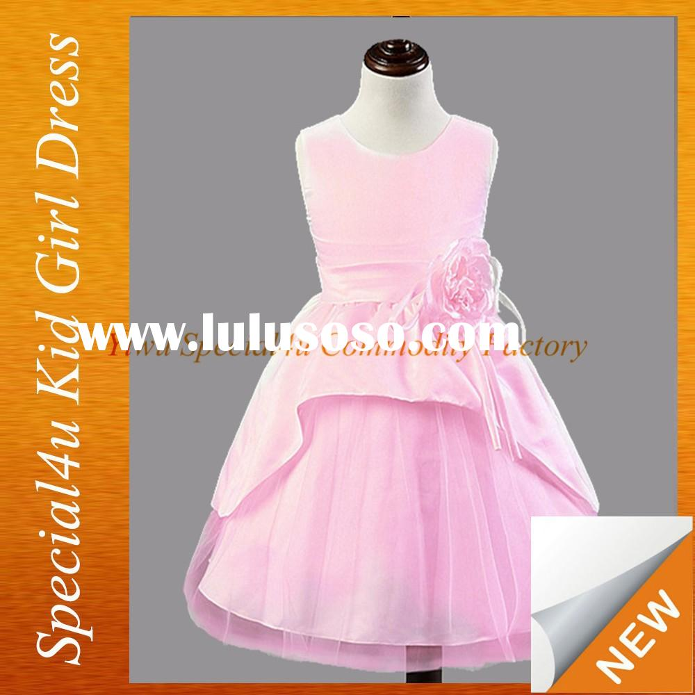 Pink children girls frock design fluffy party frocks for girls SFUBD-1005