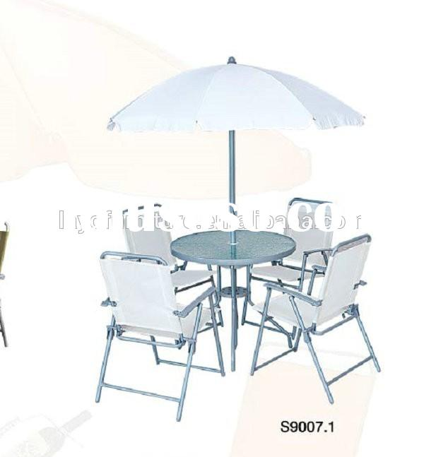 Promotional 6pcs aluminum outdoor furniture umbrella table chairs set outdoor round garden treasures