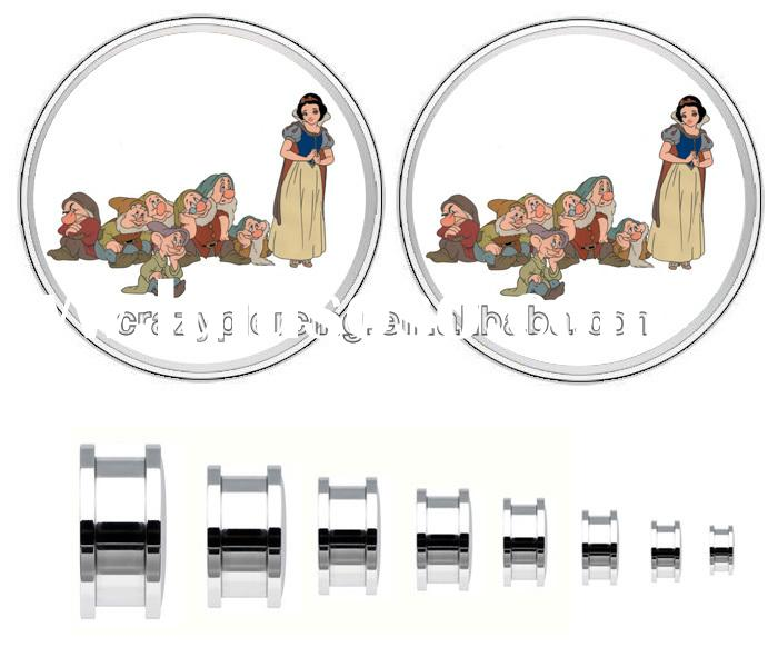 Snow White And The Seven Dwarfs Picture 316L Steel Piercing Jewelry Screw Ear Plug Flesh Tunnel