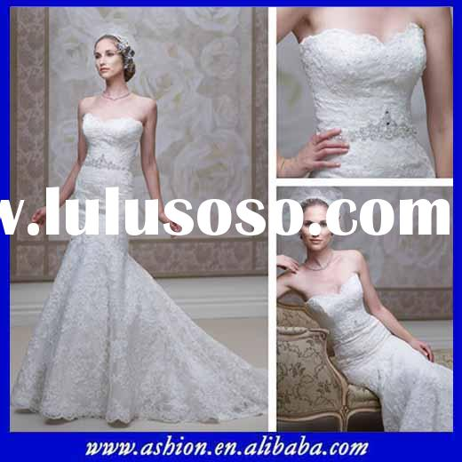 WE-2385 Strapless scalloped sweetheart neckline mermaid style elegant wedding dresses top arabic des