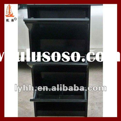 durable high gloss wall mounted black metal shoe rack with 3 tier