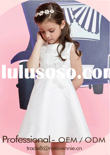 high end children white appliqued frock dress design for 2-12 years old girls kids party/birthday pr