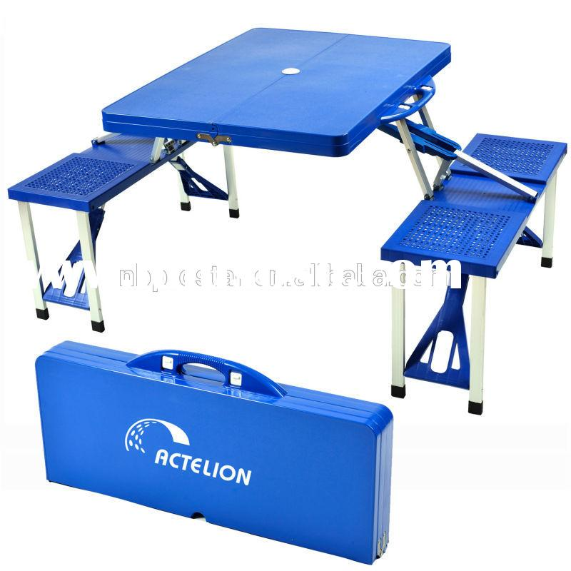 outdoor plastic portable picnic folding table with chair,aluminum camping table set