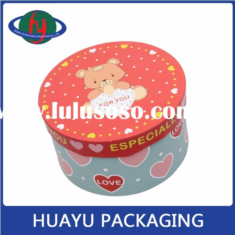 wholesale custom design decorative round cardboard gift boxes with lid