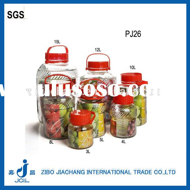 2-18L clear cylinder large glass containers with red handle plastic lid