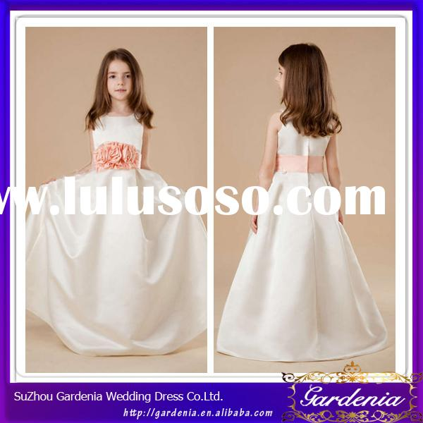 Hot Sale Floor Length A-line Scoop Neckline Very Simple Cheap Flower Girl Dresses (ZX153)