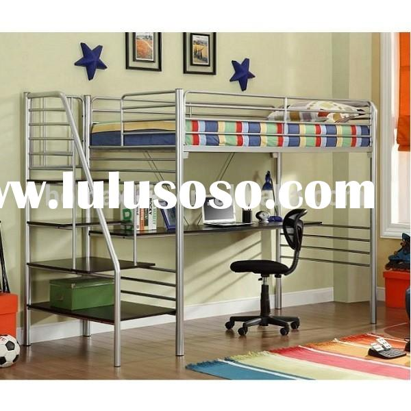 Loft Bed for Kids Metal Twin Study Loft Bed with Stairs
