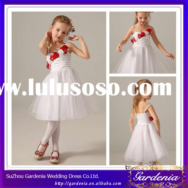 New Style Cute and Beautiful Knee Length A-line Spaghetti Straps Very Very Cheap Flower Girl Dresses