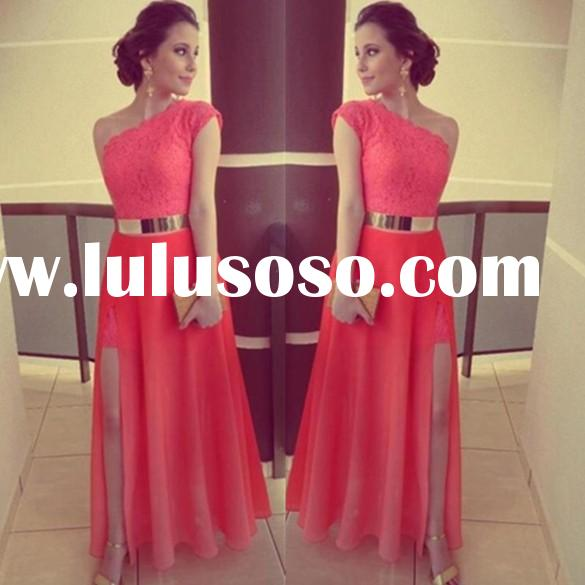 Newest Lady high slit Party One Shoulder Evening red prom Dress SV018187
