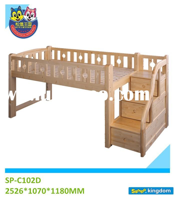 PINE MATERIAL BEDROOM TYPE CHILDREN LOFT BED WITH STAIRS CASE C102D