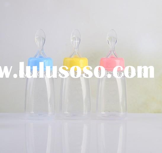 Silicone Extruding Assisted Food Feeder Weaning Spoon Feeding Bottle/baby feeding bottle with spoon/