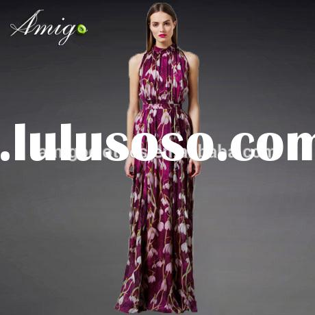 2015 purple halter long maxi chiffon elegant party dress full floral dress