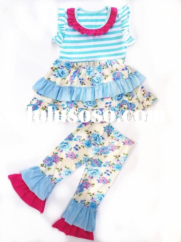 2015 stylish gorgeous kids clothes for children girls ruffled clothing sets back to school outfit