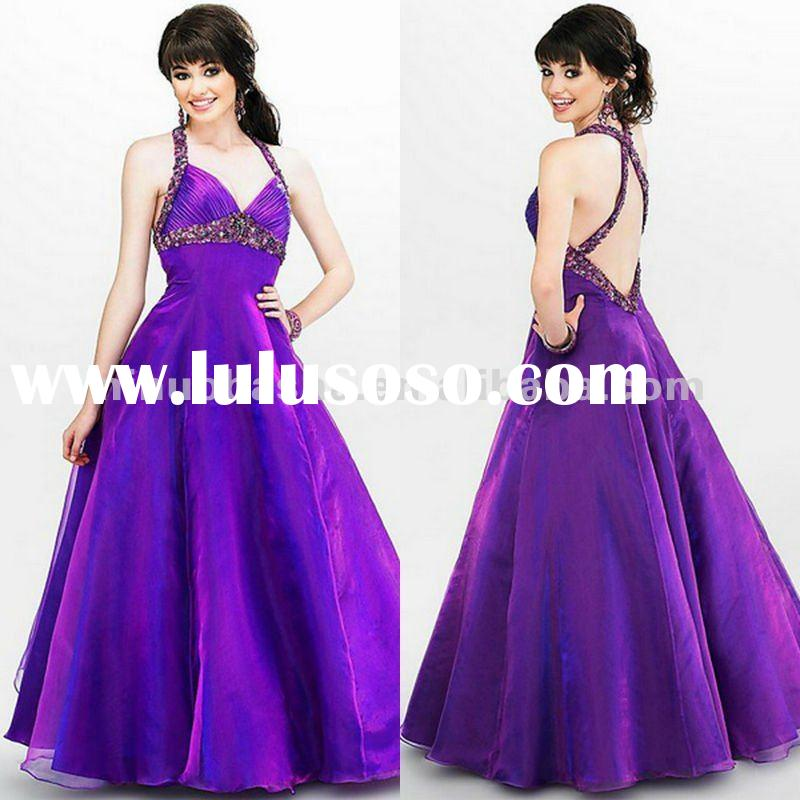 A line style purple halter V-neck empire waist prom dress/evening gown