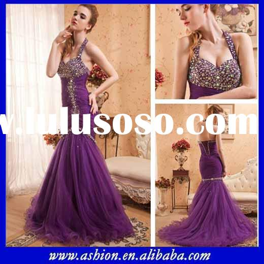 ED-2012 Stunning halter neck purple long prom dresses with trail