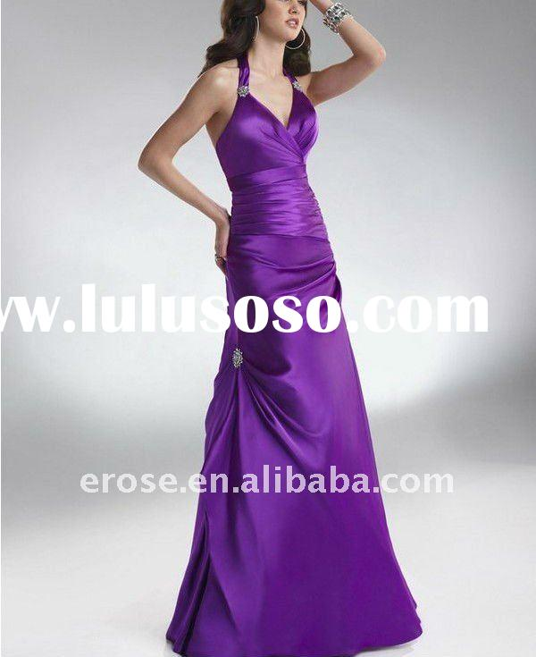 EV-E097 Elegant Beaded Attractive Halter V-neck Purple Long Satin USA Evening Dress