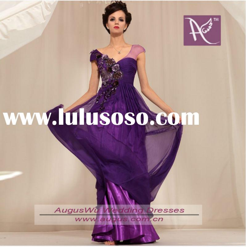 Exquisite Purple V-neck Handmade Flower decoration Chiffon Full Length Evening Dresses