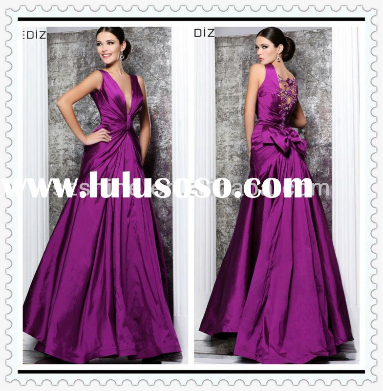YED10285 New arrival dress design Halter V-neck A-line Floor length pleated taffeta purple designer