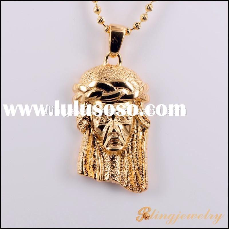 18k gold plated jesus face pendant hip hip pendant for men
