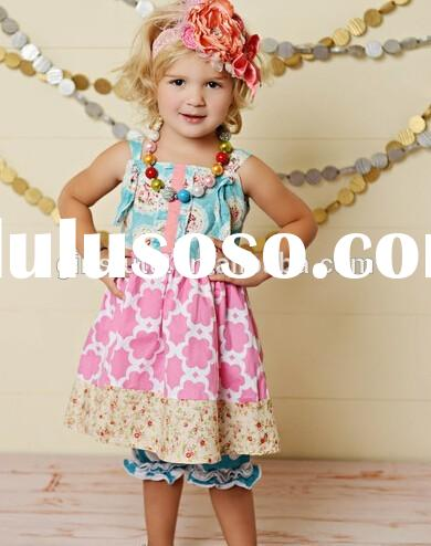 2015 Hot Sale Quatrefoil Printed Outfits For Girls Boutique Fall Clothing In Bulk Price Girl Clothes