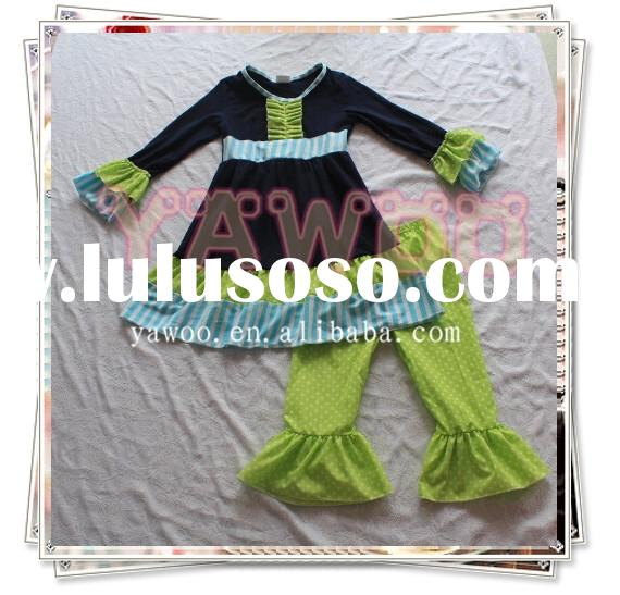 2015 hot style vintage girls boutique clothing children clothes causal fall outfit for kids