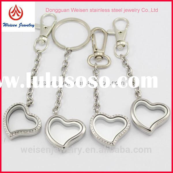 Custom Design Stainless Steel Jewelry Stainless Steel Heart Shape Glass Living Locket keychain For W