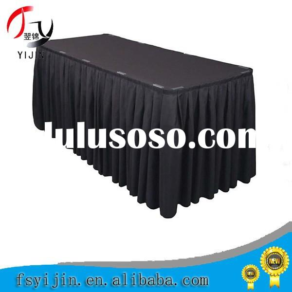 Dirty Resistant Polyester Black Table Skirting