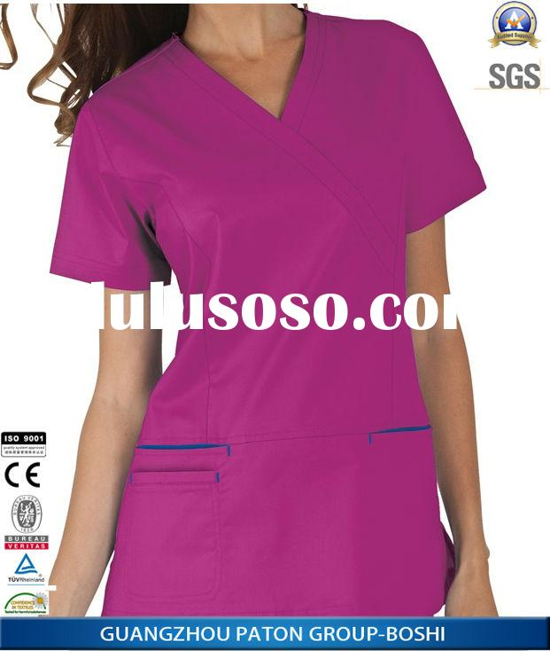 Elegant Ladies Hospital Nurse Scrubs Uniforms,Slim Fit Design with Additional Front Pocket,BI19022