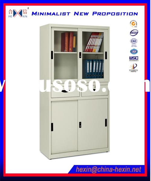 Half glass lowes storage cabinets with two drawers