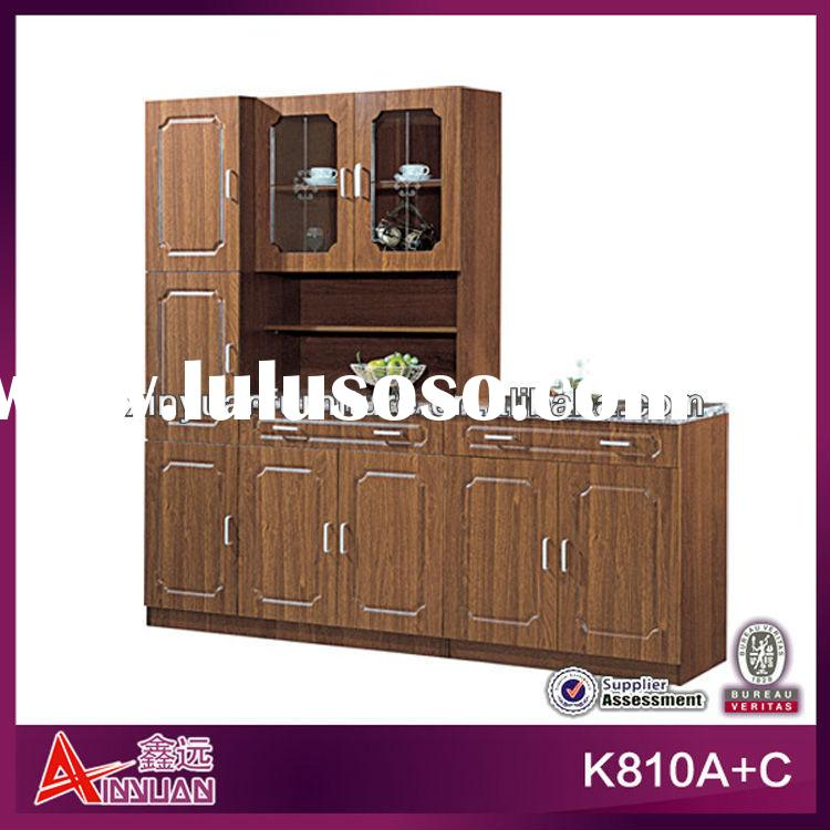 K810A+C 2 layers Shelf brown wooden body and white marble board 2 combination wholesale kitchen cabi