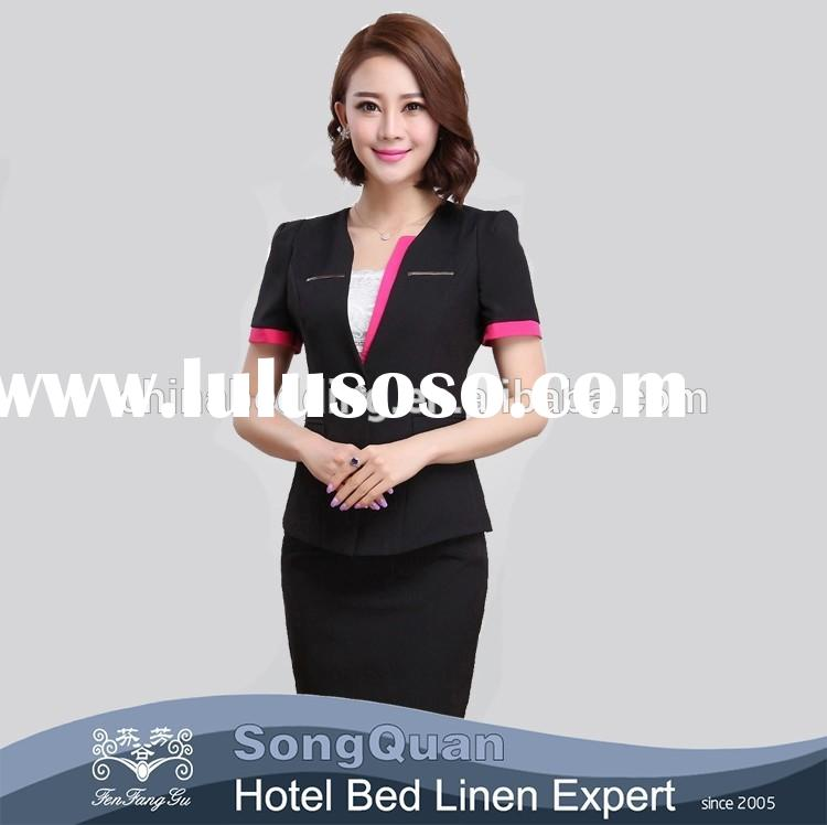 Made in china flame resistant 100% cotton sample office staff uniforms for women