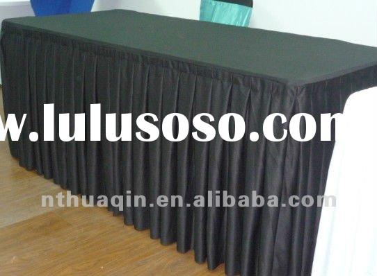 black hotel scuba rectangular table skirting for wedding party event polyester decorative table skir
