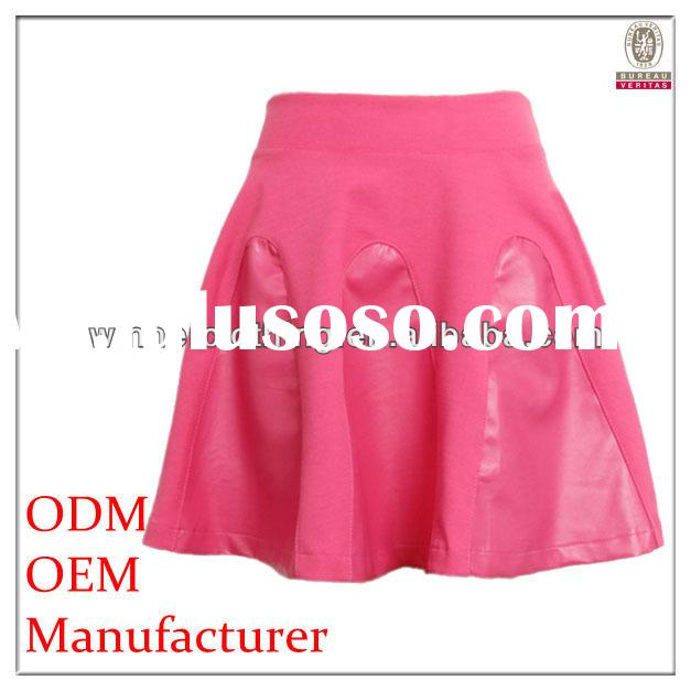 summer/outer hot sale short leather skirt for young lady