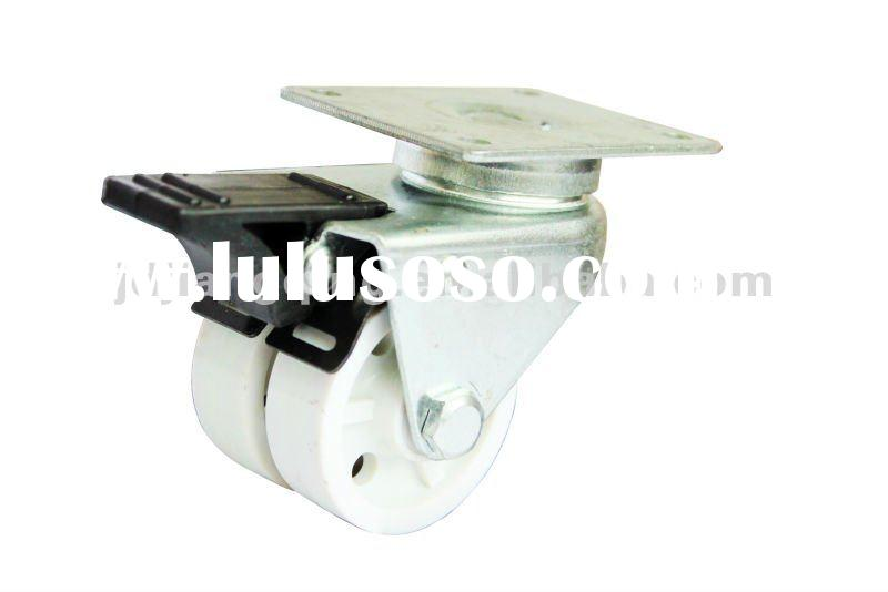 top plate double wheel white small furniture casters wheel with brake