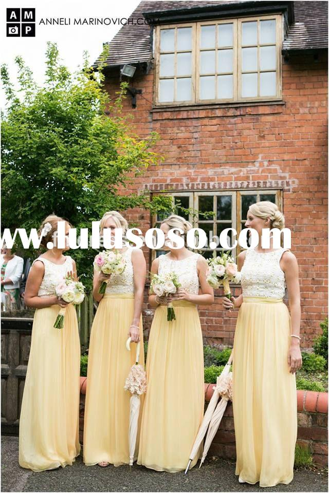 2015 Latest Elegant A-Line Chiffon Long Bridesmaid Dresses Scoop Sleeveless Applique Cheap Weding Pr