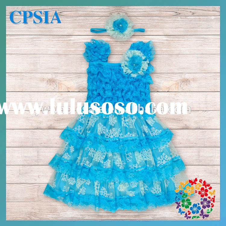 2015 Baby Girl Party Dress Children Frocks Designs Blue Latest Dress Patterns For Girls